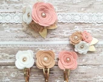 Baby Shower Gifts, Felt Flower Headband, Rustic Wedding Hairpiece, Newborn Starter Set, White Champagne Blush Gold Headband