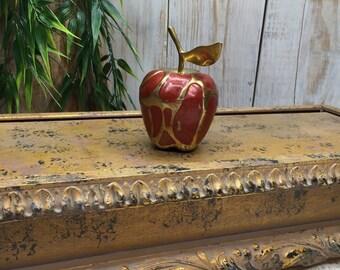 Brass Apple, Red Enamel Apple, Kitchen Apple Decor - apple decorations - Red Delicious Apples - Apple Kitchen Decor, Teachers Gift