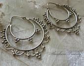 Tribal Brass Earrings White Brass Earrings Gypsy Hoop Earrings Brass Tribal Earrings Hoop Earrings Indian Earrings Boho Hoop Earrings
