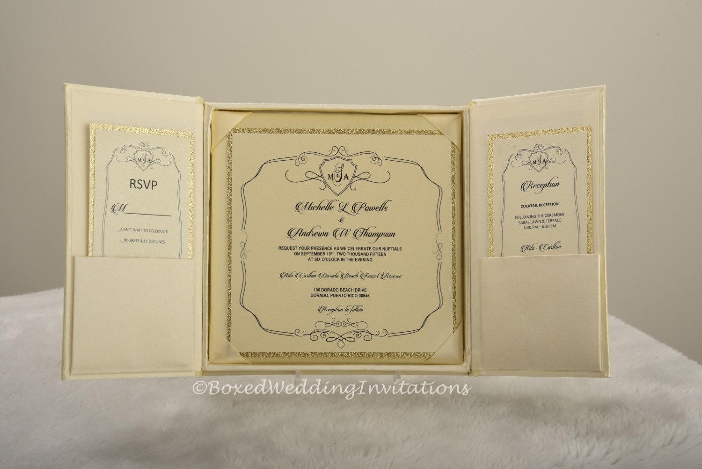 Ivory Wedding Invitations: Ivory Silk Boxed Wedding Invitation