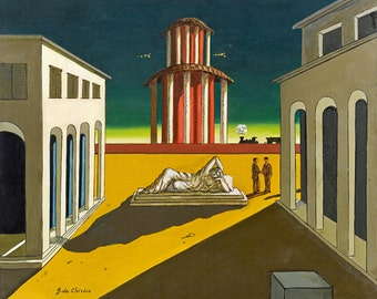 Piazza d'Italia by Giorgio De Chirico Home Decor Wall Decor Giclee Art Print Poster A4 A3 A2 Large Print FLAT RATE SHIPPING
