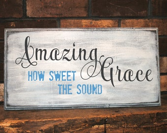 Amazing Grace sign. Distressed Wood Wall Art. Perfect home decor for your home!