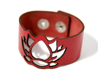 Lotus flower leather bracelet