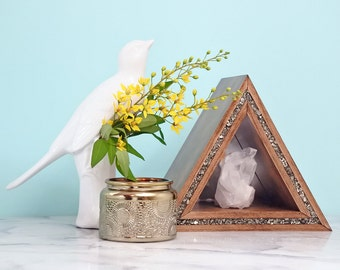 Triangle Mirror Shelf with Crushed Pyrite