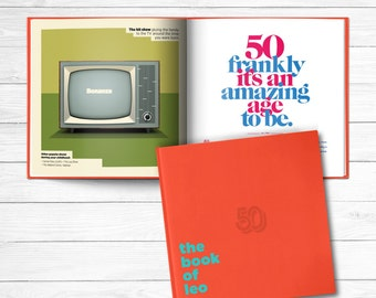 50th birthday Gift Personalized Book of Everyone Ruby Red Cover