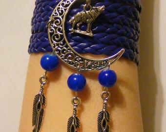 Wolf bracelet, wolf jewelry, moon bracelet, moon jewelry, feather bracelet, feather jewelry, leather wolf bracelet, leather wolf jewelry