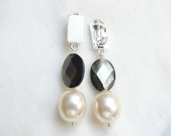 Clip Earrings silver mother of pearl