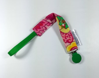 Pacifier Clip, Binky Clip, Passy Clip,  Paci Clip, Pink Green Flowers,  Fits All Pacifiers!