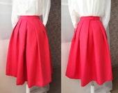 2016 Fashion Midi Skirt in Red Black Women Midi Skirt with pockets. Circle Pleated Skirt, Full Red Tea Length Bridesmaid Skirt Custom(WS01)
