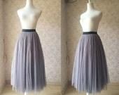 2016 Gray Tulle skirt long Tulle Skirt Elastic Tulle skirt. Gray Skirt. Gray Bridesmaid Skirts. Wedding. Plus size Tulle Skirt xxxl(T2814)