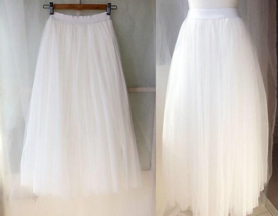 white skirt ankle length tulle skirt by magic1668