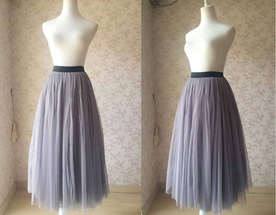 2017 Gray Tulle Skirt Long Tulle Skirt Elastic Tulle Skirt
