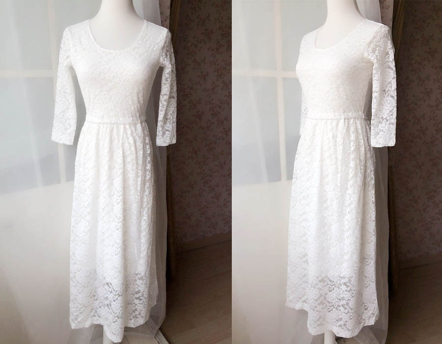 Ivory white lace dress long lace dress custom autumn long for Simple ankle length wedding dresses