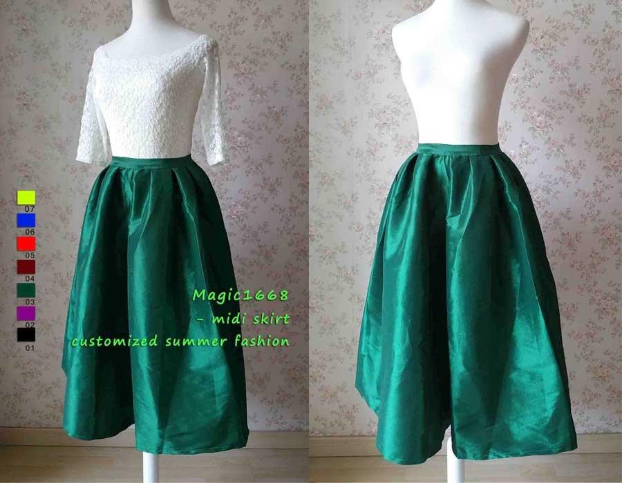 emerald green midi skirt pleated midi skirt with