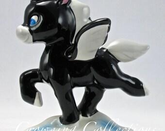 Disney Fantasia Baby Black Pegasus Figurine Porcelain Ceramic Japan Pastoral Vintage RARE!