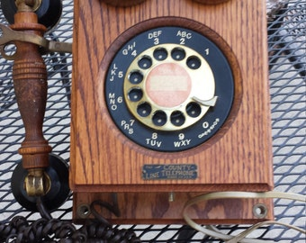County Line Vintage Oak and Brass Telephone