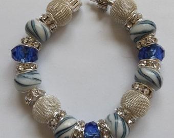 Blue & Silver European Style Bracelet