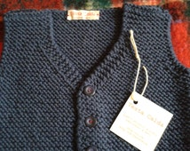Blue merino wool vest with buttons for kids of 12 months