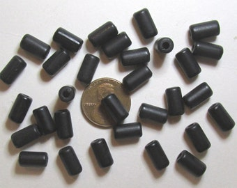 10, 25 or 50 Matte/Satin Finish Black Resin Beads- 6mm x 10mm Drum or Tube Shapes with 2mm Holes- Salvage from NOS Jewelry- Destash