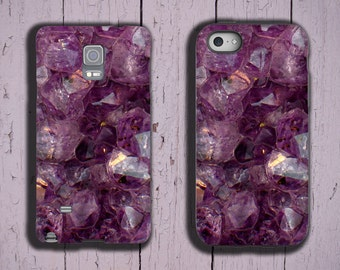 Amethyst iPhone 7 iPhone SE iPhone 6s purple crystal iPhone 5S violet gemstone phone case iPhone 4/4S Samsung Galaxy Note 3 Galaxy S7 Edge