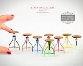 Miniature American Iron Barstool, rotating rotate bar stool vintage dollhouse kitchen modern furniture chair tabouret artisan scale 1:12