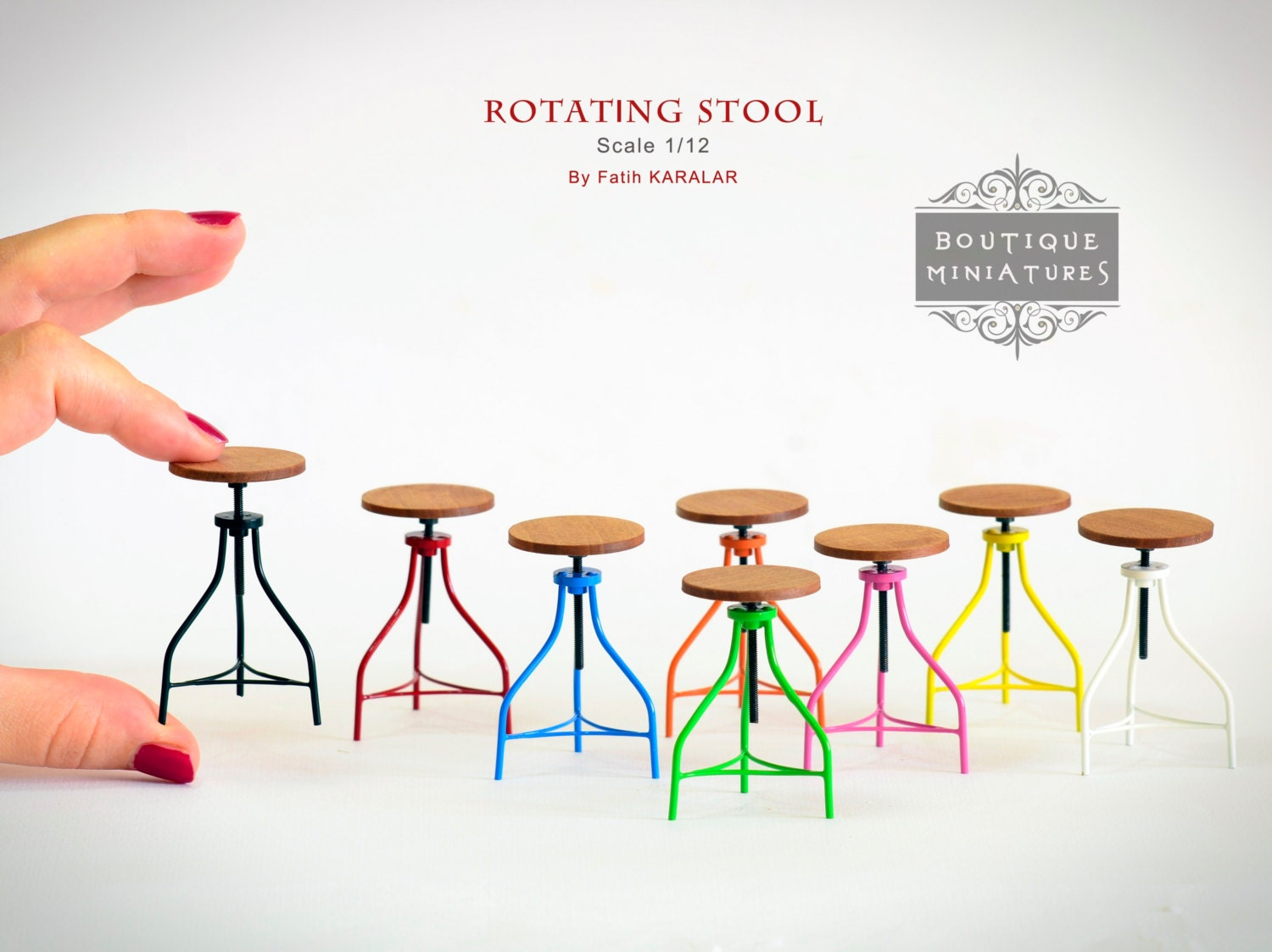 Miniature Dollhouse Kitchen Furniture Miniature American Iron Barstool Rotating Rotate Bar Stool