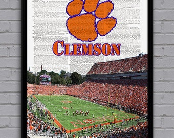 Clemson Tigers art print with stadium on dictionary page. Nice gift for NCAA College football fan! Man cave or college dorm room decor.