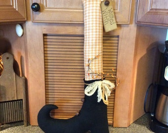 Tall primitive witch boot/door greeter/wall hang/shelf sitter/Halloween