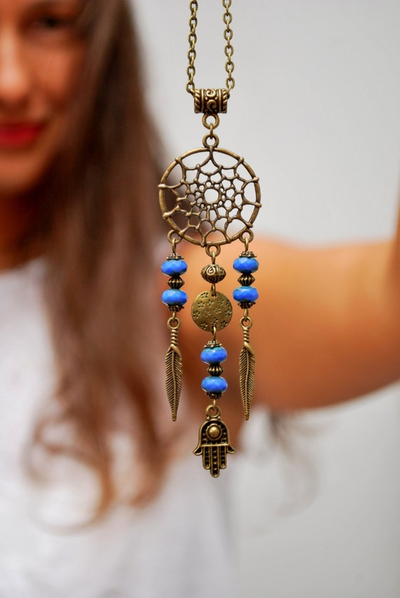 Dream Catcher Necklace Hippie Festival Necklace Hamsa By
