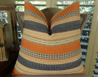 Navy Orange Cream Stripe Pillow Cover - Zig Zag Chevron Pillow - Designer Stripe Couch Pillow - Decorative Stripe Throw Pillow - 11166
