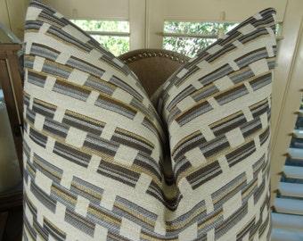 Designer Gray Square Link Pillow - Gray Cream Geometric Pillow Cover - Grey Pillow - Modern Pillow - Geometric Square Link Pillow - 11187