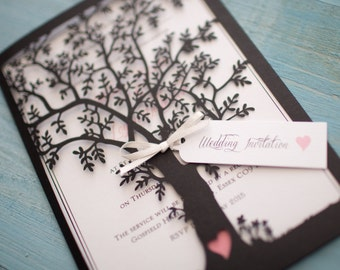 Lasercut Tree Invitation - Black