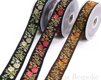 Wild Rose Jacquard Ribbon Trim in Three Colors, Made in Italy