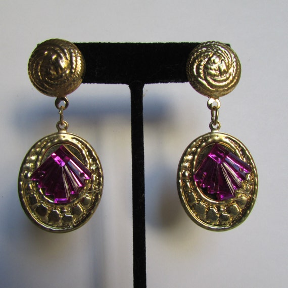 Vintage earring purple and gold drop earrings 90s jewelry for Drop shipping jewelry business