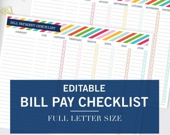 Editable Monthly Bill Pay Checklist Printable - Binder Print- INSTANT DOWNLOAD