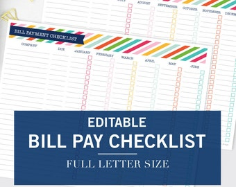 Editable Monthly Bill Pay Checklist Printable - INSTANT DOWNLOAD