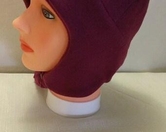 Burgundy Fleece Hat Set with Ear Flaps, Wine Fleece Hat with Ear Flaps, Hat with Ear Flaps,  Burgundy Fleece Scarf
