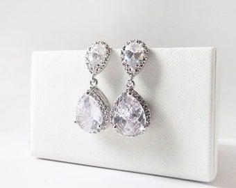 Crystal Wedding Earrings, Wedding Jewelry, Teardrop Bridal Earrings, Vintage Bridal Earring, Bridal Jewelry,  Silver Crystal Earrings