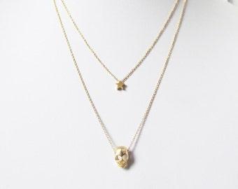 gold skull necklace, tiny skull necklace, skull and star, layered necklace, skull layered necklace