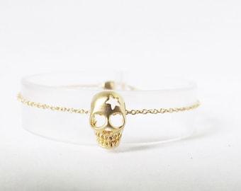 dainty gold skull bracelet skull jewelry punk rock Halloween, Gothic birthday gift