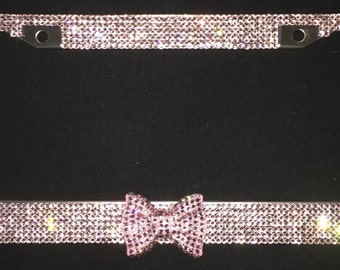 Pink Rhinestone Crystal License Plate Frame Cover, Pink Bling Bow, matching cap covers, woman or girl car accessory