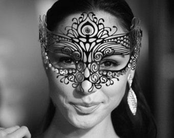 Sales! Elegant Black Lotus Metal Filigree Mask, Laser Cut Masquerade Ball Mask, Detailed with Clear Swarovski Rhinestones (For Her)