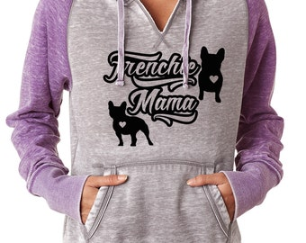 Frenchie Mama Women's Zen Fitted Hoodie French Bulldog hoodie for ladies sizes sm-2x from Bully Supplies frenchie apparel