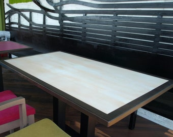 Brown and white solid wood table top