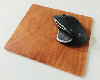 Leather Mouse Pad, Personalized Mousepad, Leather Mat, Custom Leather Pad, Mens Woman's Gift, Handmade Leather Mousepad