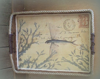Old World Serving tray with Fish Design