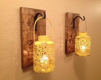Rustic yellow lantern, Wall decor, Rustic bathroom decor ,Wall sconce, Wall hanging, Bedroom decor, Kitchen decor, Rustic hanging lantern