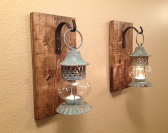 Rustic Lantern Set Wall Decor Rustic Bathroom Decor Wall Sconce Wall Hanging