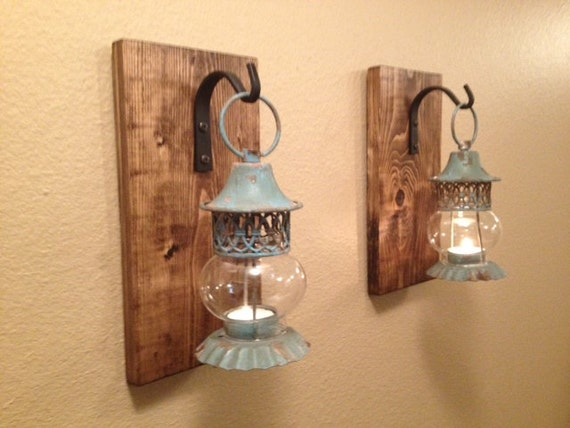 Rustic lantern set Wall decor Rustic bathroom decor Wall