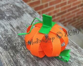 Happy Halloween 3-D Pumpkin Hair Clip. Jack o' Lantern Clippie